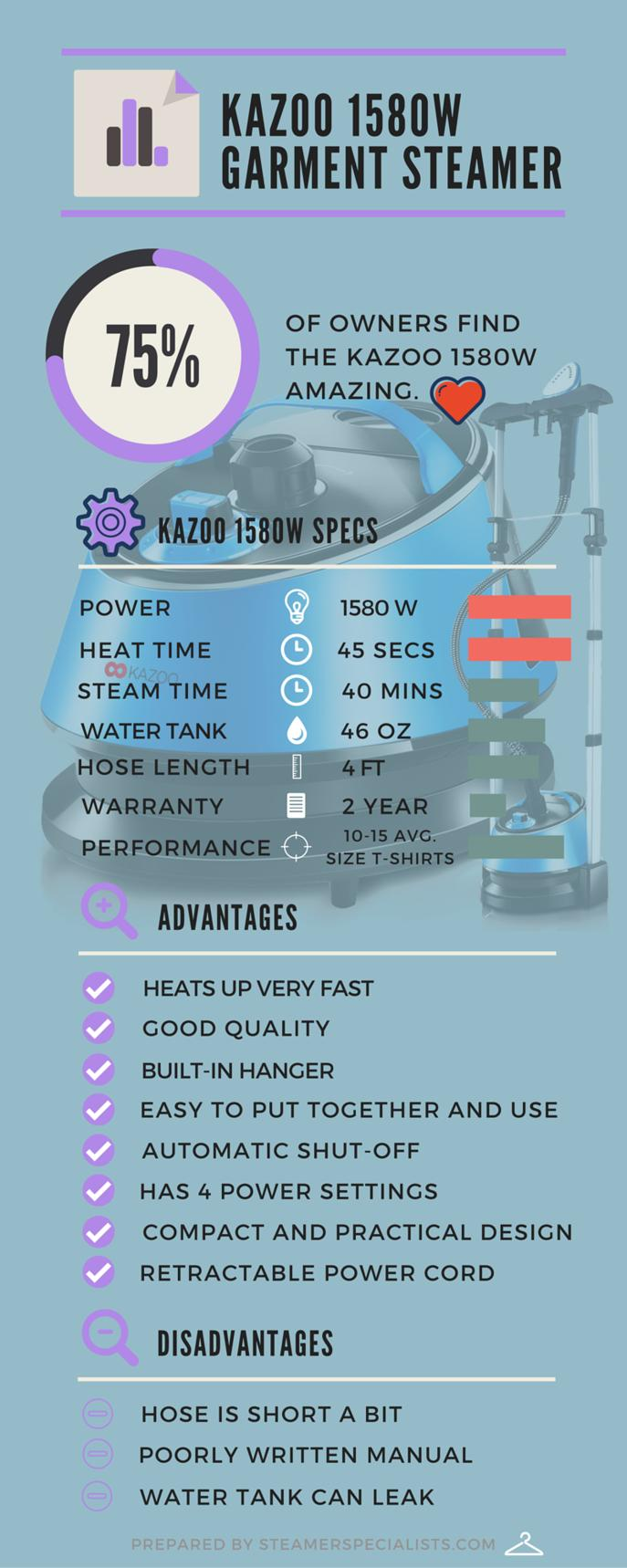 Kazoo 1580W 46 oz. Professional Garment Steamer Review Infographic